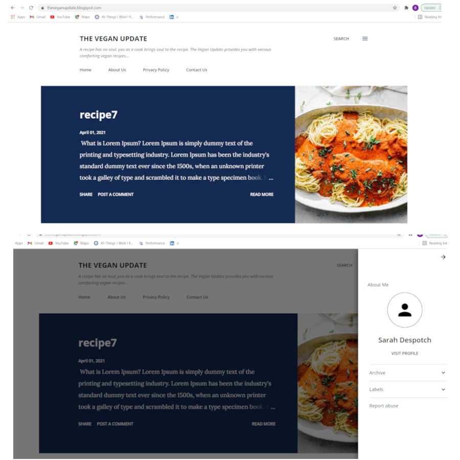 website page one